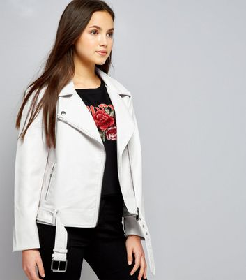 Teens White Leather-Look Jacket