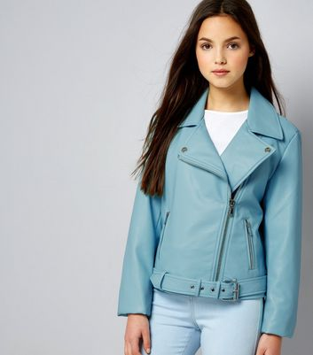 Teens Mint Green Leather-Look Jacket