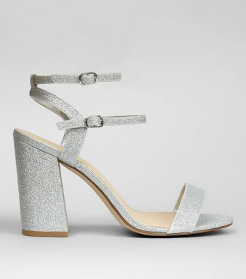 Wide Fit Silver Glitter Double Strap Heels