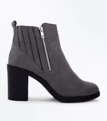 Wide Fit Grey Suedette Stitch Side Chelsea Boots