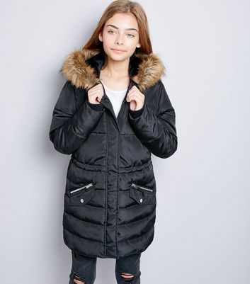 Teens Black Faux Fur Trim Puffer Jacket