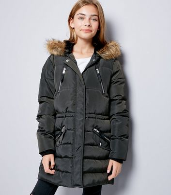 Teens Khaki Faux Fur Trim Puffer Jacket
