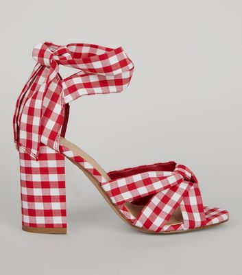 Red Gingham Tie Up Ankle Heeled Sandals