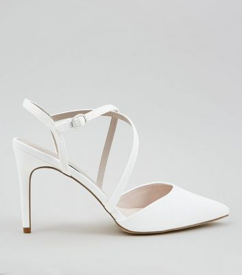 Ivory Satin Cross Strap Pointed Heels