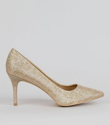 Gold Glitter Court Shoes