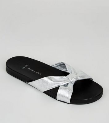 Wide Fit Silver Leather Bow Strap Mules