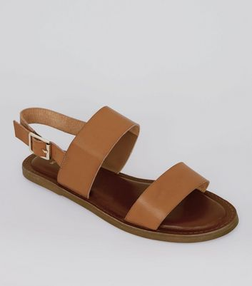 Wide Fit Tan Double Strap Sandals