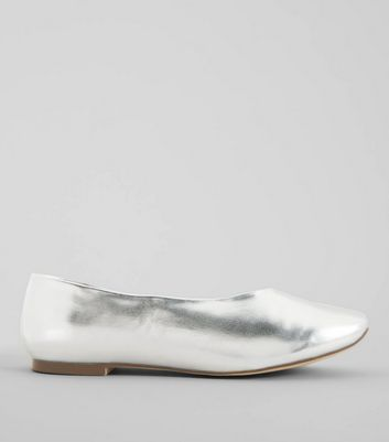 Wide Fit Silver Metallic Square Toe Pumps