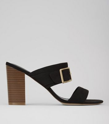 Wide Fit Black Buckle Trim Heeled Mules