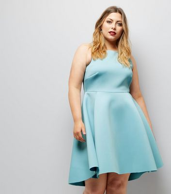 Curves Pale Blue Scuba Dip Hem Skater Dress