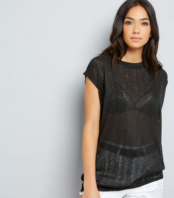 Black Textured Longline T-Shirt