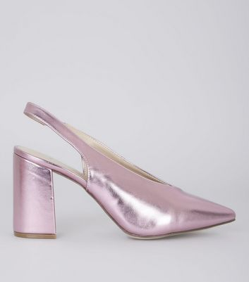Wide Fit Pink Metallic Pointed Sling Back Heels