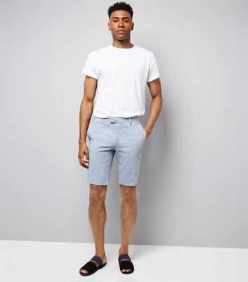 Pale Blue Slim Leg Oxford Tailored Shorts