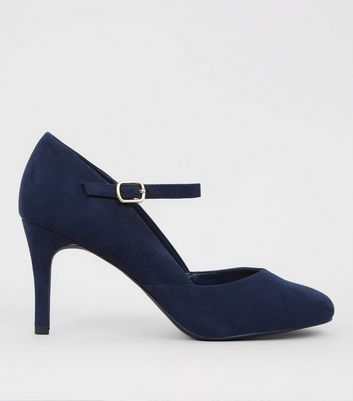 Blue Suedette Ankle Strap Court Shoes