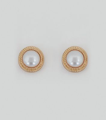 Gold Rope Edge Pearl Studs