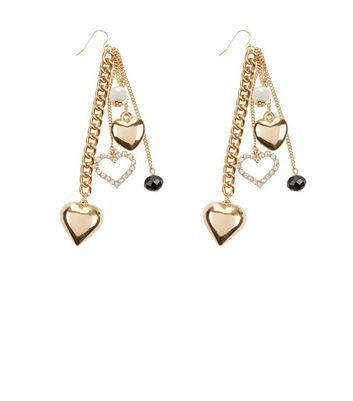 Gold Heart and Pearl Chain Drop Earrings