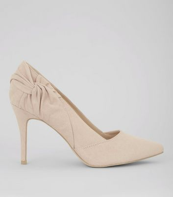 Nude Pink Suedette Twist Side Pointed Heels