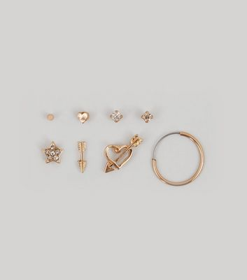 Gold Heart and Arrow Earring Pack