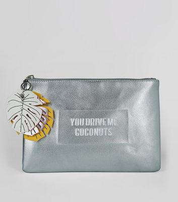 Silver You Drive Me Coconuts Embossed Clutch Bag