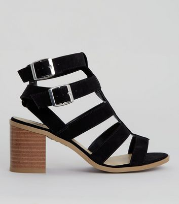 Teens Black Suedette Multi Strap Sandals