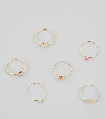 6 Pack Gold Stacking Rings
