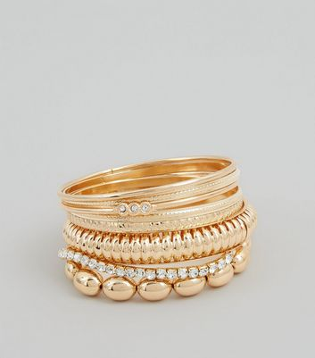 8 Pack Gold Diamante Bead Bangles