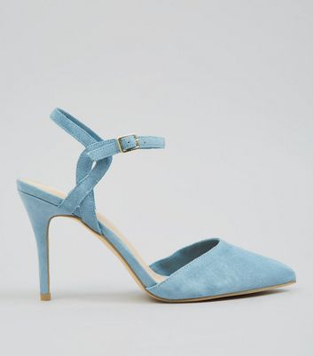 Blue Comfort Suede Cross Strap Side Pointed Heels
