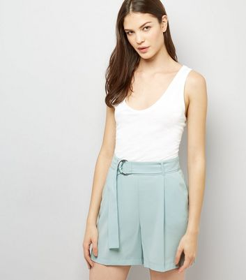 Mint Green Tie Waist Crepe Shorts