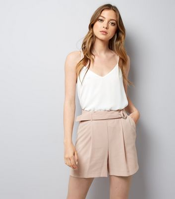Mid Pink Crepe Tie Waist Shorts
