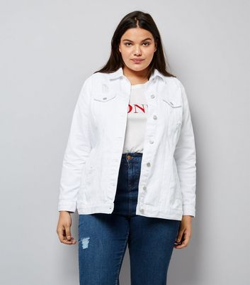 Curves White Ripped Denim Jacket