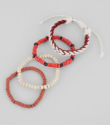 4 Pack Red Bead Bracelets