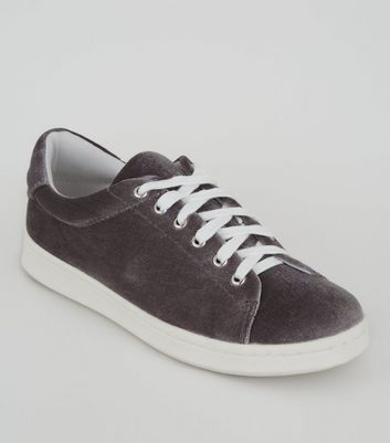 Teens Grey Velvet Lace Up Trainers