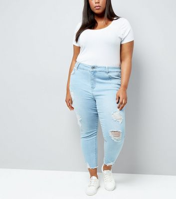 Curves Blue Gem Detail Ripped Mom Jeans
