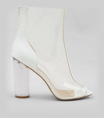 White Clear Open Toe Heeled Boots