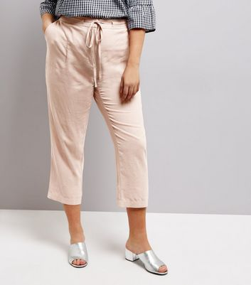 Curves Shell Pink Tie Waist Cropped Trousers
