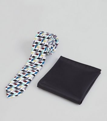 2 Pack White Multicoloured Geo Tie