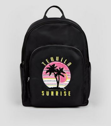 Black Tequila Sunrise Embroidered Backpack