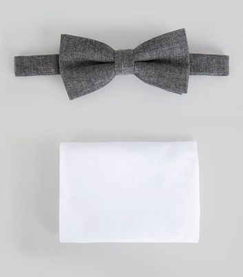 Grey Bow Tie And Pocket Square Set