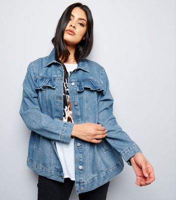 Curves Blue Frill Trim Denim Jacket