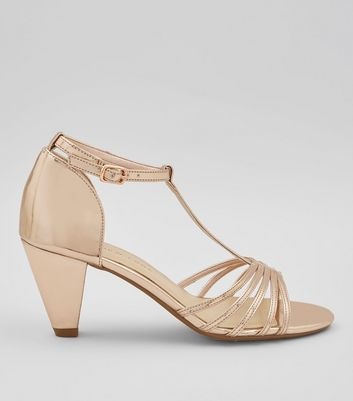 Teens Rose Gold T-Bar Heels