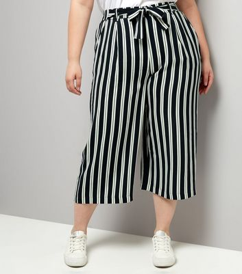 Curves Navy Stripe Tie Waist Wide Leg Cropped Trousers