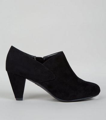 Teens Black Suedette Shoe Boots
