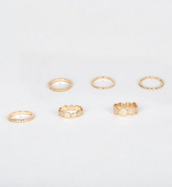 6 Pack Gold Textured Ring Stack