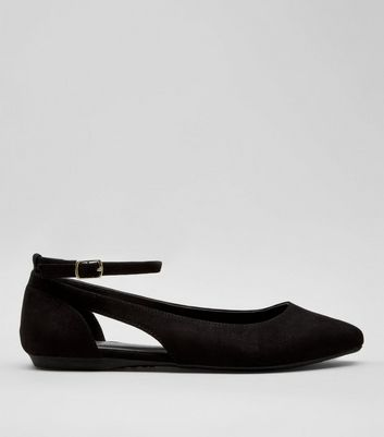 Teens Black Suedette Cut Out Side Pumps
