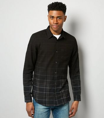 Navy Dip Dye Check Long Sleeve Shirt