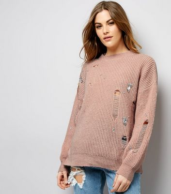 Pink Embellished Ladder Knit Jumper