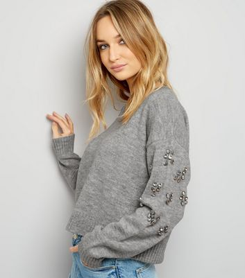 Grey Embellished Sleeve Cropped Jumper