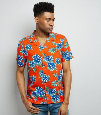 Red Tropical Floral Print Short Sleeve Shirt