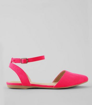 Teens Pink Suedette Pointed Pumps