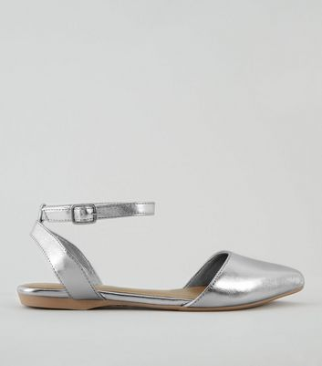Teens Silver Metallic Pointed Pumps